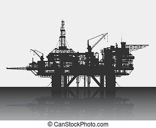 gedetailleerd, olie, rig., illustration., diep, perron, vector, sea., zee