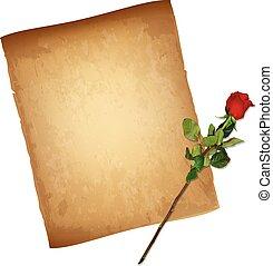 gedetailleerd, oud, roos, hoog, papier, perkament, rood