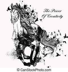 gedetailleerd, paarde, mode, kunst, illustratie, hand, rennende , getrokken