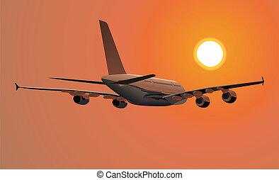 gedetailleerd, passagier, a380, illustratie, jetliner