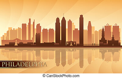 gedetailleerd, philadelphia, skyline, stad, silhouette