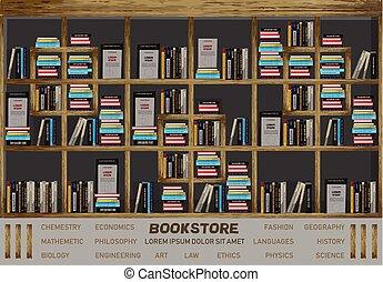 gedetailleerd, planken, illustratie, interieur, boekhandel, boekjes , vector., illustraties, ontwerp, decor.