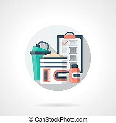 gedetailleerd, plat, kleur, dieet, vector, plan, sportende, pictogram