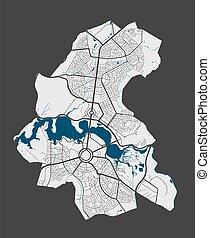 gedetailleerd, poster, canberra, stad straten, water., map...