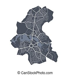 gedetailleerd, poster, canberra, stad, streets., vector., ...