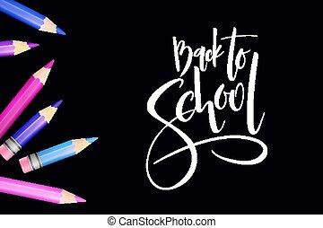 gedetailleerd, potloden, school, lettering, back, illustratie, hand, helder, vector, ontwerp, mal, etiket, spandoek