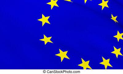 gedetailleerd, render, hoog, vlag, 3d, europeaan