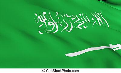 gedetailleerd, render, hoog, vlag, arabisch, saoediër, 3d
