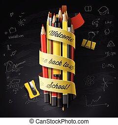 gedetailleerd, school, illustration., school., welkom, back, tekst, hoog, vector, ontwerp, potloden, black , chalkboard, pen, mal