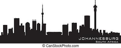 gedetailleerd, silhouette, afrika, johannesburg, skyline, ...