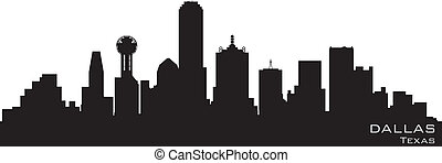 gedetailleerd, silhouette, dallas, vector, skyline., texas
