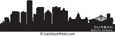 gedetailleerd, silhouette, durban, afrika, skyline, vector, ...