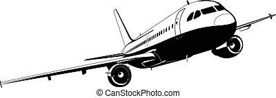 gedetailleerd, silhouette, lijnvliegtuig
