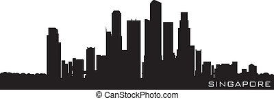 gedetailleerd, silhouette, singapore, azie, vector, skyline.