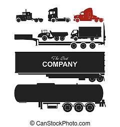 gedetailleerd, silhouettes, set, vrachtwagens