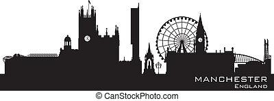 gedetailleerd, skyline., engeland, silhouette, manchester