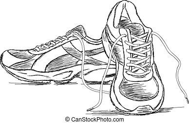 gedetailleerd, sportende, gymschoen, schoen, vector