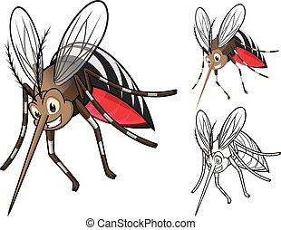 gedetailleerd, spotprent, muggen
