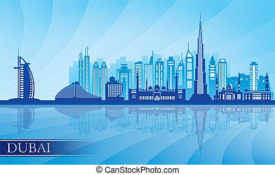 gedetailleerd, stad, dubai, silhouette, skyline