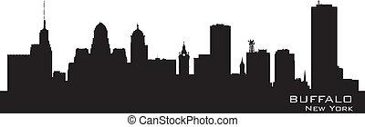 gedetailleerd, stad, silhouette, buffel, york., nieuw