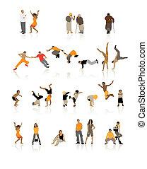 gedetailleerd, stellen, ouderdom, jonge, silhouettes, ...