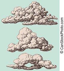 gedetailleerd, stijl, set, wolken, ouderwetse , vector