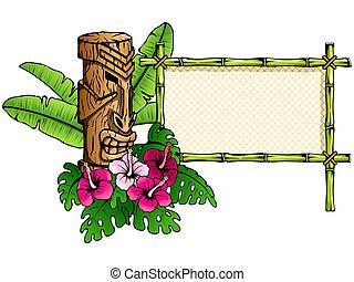 gedetailleerd, tiki, spandoek, hawaiian