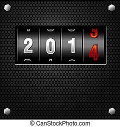 gedetailleerd, toonbank, jaar, vector, 2014, nieuw, analoog