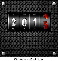 gedetailleerd, toonbank, vector, jaar, 2015, nieuw, analoog