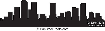 gedetailleerd, vector, silhouette, colorado, denver, skyline...