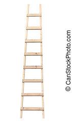 gedetailleerd, verticaal, houten, vrijstaand, ladder, closeup, stepladder