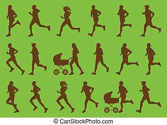 gedetailleerd, vrouw, marathon, actief, renners, man
