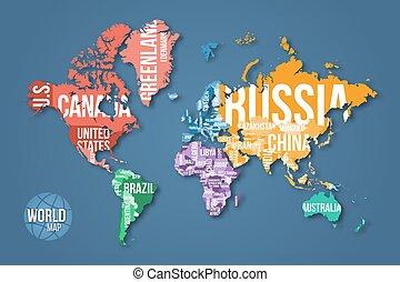 gedetailleerd, wereld, vector, kaart