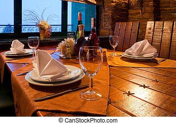 gediende, restaurant, tafel