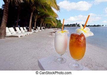 gediende, turkoois, rafael, eiland, zanderig, achtergrond., foto, strand, bomen, ben-ari/chameleons, pacific, tropische , buiten, stoelen, cocktails, vakantiepark, water, palm, oog