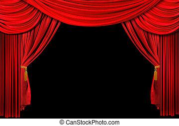 gedrapeerd, rode achtergrond, toneel