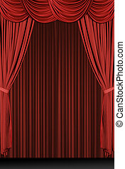 gedrapeerd, verticaal, rood, toneel