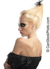 gedreht, zurück, dunkel, make-up, blond, m�dchen