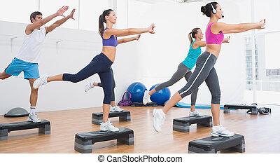 gedresseerd, stap aerobics, fitheid brengen onder, oefening