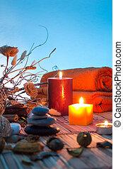 gedroogmaakte bloemen, chromoterapy, kaarsjes