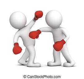 gedurende, boxing, twee, lucifer, vuistvechters