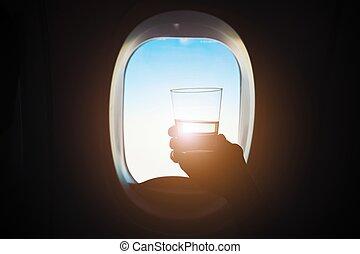 gedurende, drank, vlucht