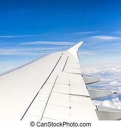 gedurende, hoogte, vlucht, vliegtuig, vleugel