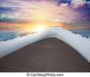 gedurende, inflatable, ondergaande zon , scheepje, zee