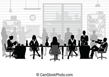 gedurende, vergadering, zakenlui