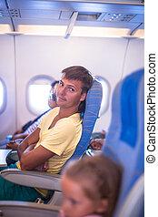 gedurende, vliegtuig, vlucht, jonge man