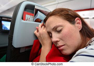 gedurende, vrouw, vlucht, slaap