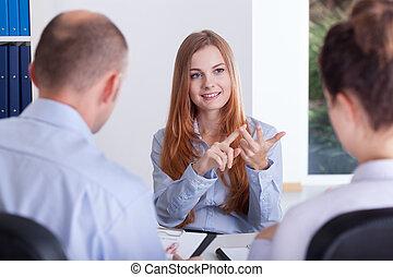 gedurende, werk, vrouw, haar, gesprek