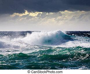 gedurende, zee, storm, golf