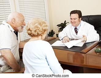geeft, nieuws, goed, patiënt, arts